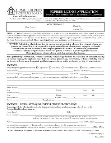 Expired Corporate License Application - Alabama Home Builders ...