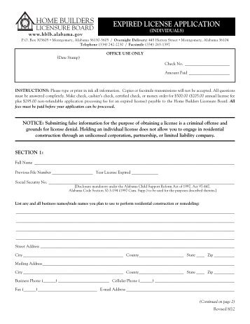Expired Individual License Application - Alabama Home Builders ...