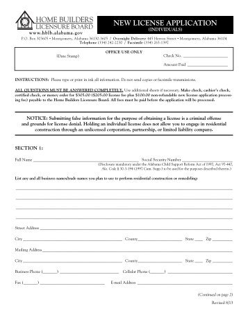 New Individual License Application - Alabama Home Builders ...