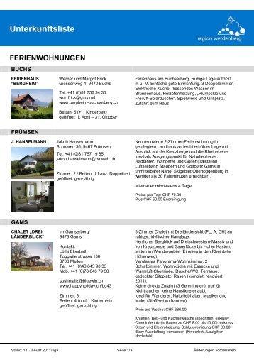 Unterkunftsliste FERIENWOHNUNGEN - Werdenberg