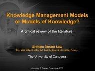 Knowledge Management Models or Models of Knowledge?