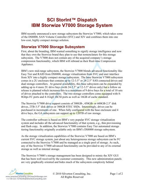 IBM 2010 Oct 07 announcement of Storwize V7000 Storage System
