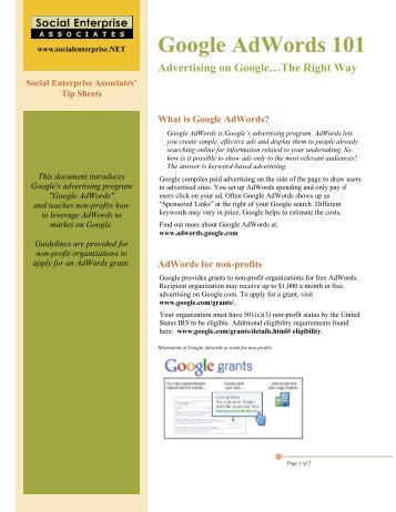 Tip Sheet #1: Google Adwords 101 - Social Enterprise Associates
