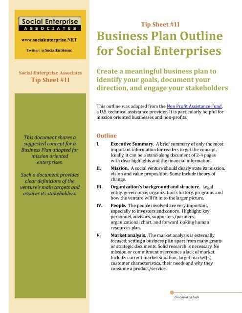 Tip Sheet #11: Business Plan Outline for Social Enterprises