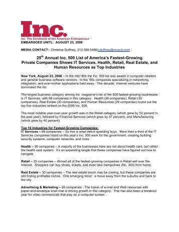 25th Annual Inc. 500 List of America's Fastest-Growing ... - Inc.com