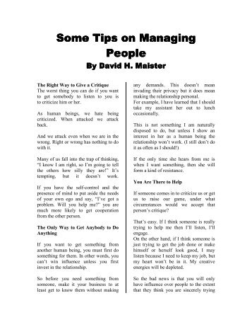 pdf version - David Maister