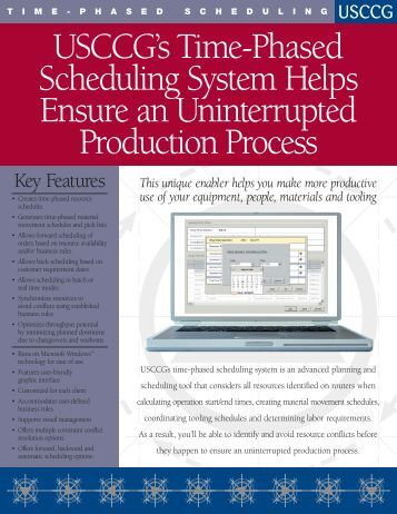 Time-Phased Scheduling - USC Consulting Group