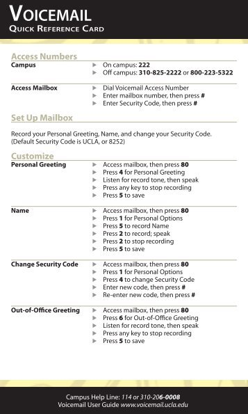 Voicemail Quick Reference Card