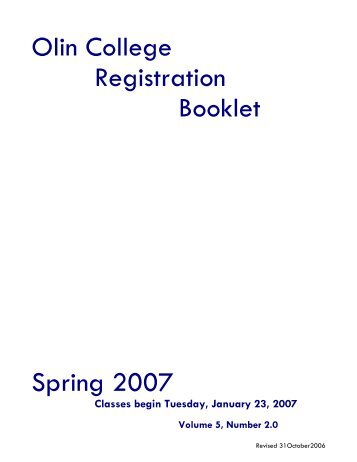 Spring 2007 Registration Booklet - StAR - Olin College