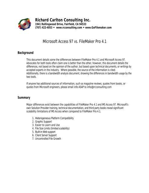 Richard Carlton Consulting Inc  Microsoft Access 97 vs