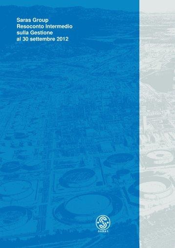 Commenti ai risultati dei primi nove mesi del 2012 - Saras SpA