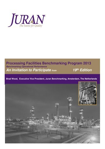 Processing Facilities Benchmarking Program 2013 An Invitation to ...
