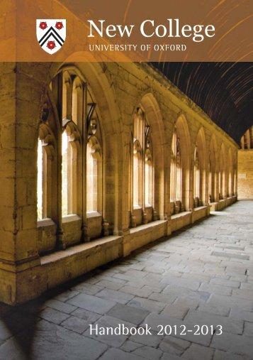 2012-13 Handbook - New College - University of Oxford