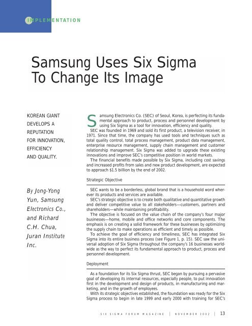 Samsung Uses Six Sigma To Change Its Juran Institute