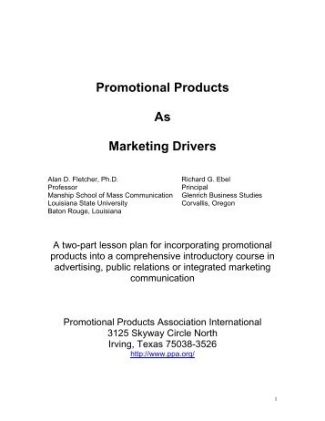 Promotional Products as Marketing Drivers A two-part lesson plan ...