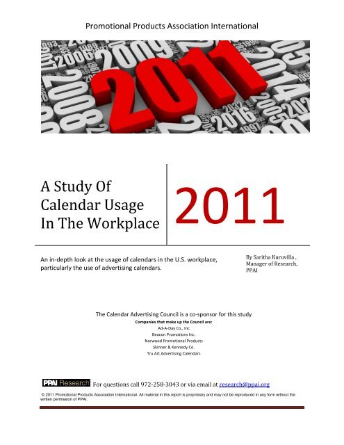 A Study Of Calendar Usage In The Workplace 2011 - Promotional ...