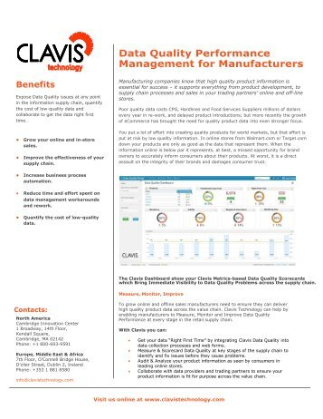 Data Quality Performance Management for Manufacturers - Clavis