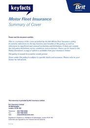 Motor Fleet Insurance Summary of Cover - RL Davison