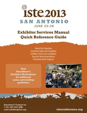 Exhibitor Services Manual Quick Reference Guide - Isteconference.org