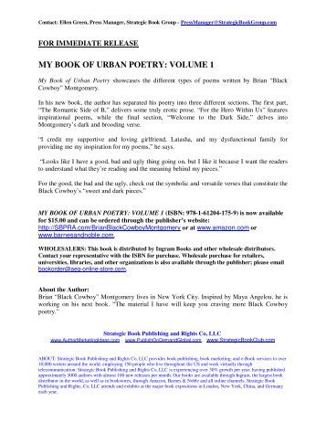 MY BOOK OF URBAN POETRY: VOLUME 1 - SBPRA
