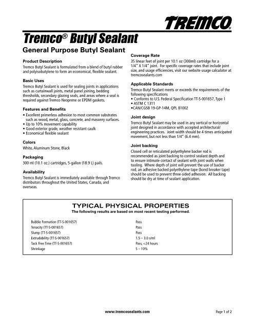 Tremco® Butyl Sealant - Tremco Sealants