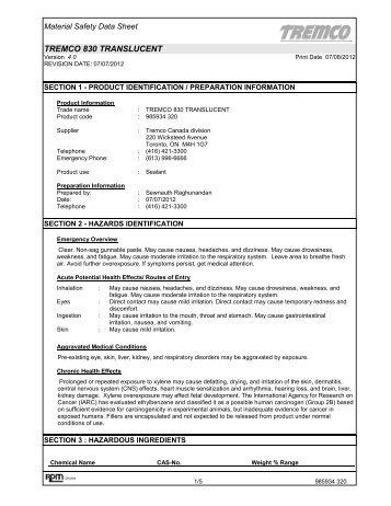 Tremco 830 Translucent MSDS (CAN) - Tremco Sealants