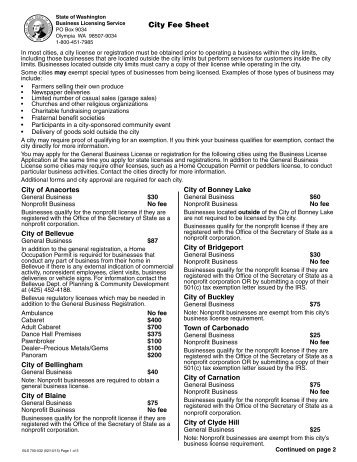 City License Fee Sheet - Business Licensing Service