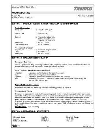 TREMproof 260 Black MSDS (CAN) - Tremco Sealants