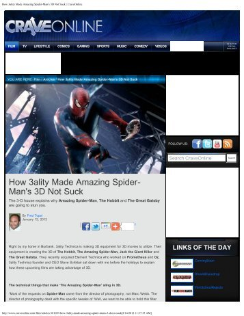 How 3ality Made Amazing Spider-Man's 3D Not Suck - 3ality Technica