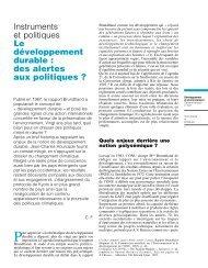 des alertes aux politiques - Centre International de Recherche sur l ...