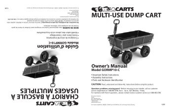 MULTI-USE DUMP CART Owner's Manual Model GORMP10-C