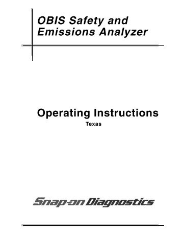 OBIS Safety and Emissions Analyzer System Operating