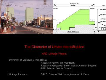 The character of urban intensification - University of Melbourne