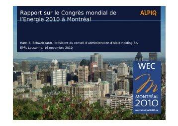 Rapport sur le Congrès mondial de l'Energie 2010 ... - Energy Center