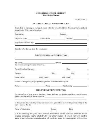 examples of permission slips