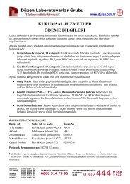 0312 kurumsal hizmetler ödeme bilgileri - Düzen Laboratuvarlar ...