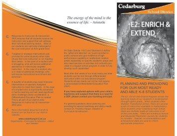 E2: Enrich & Extend Brochure - Cedarburg School District