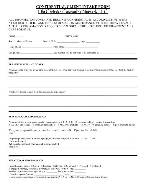 Client Information Form pdf - Life Christian Counseling Network