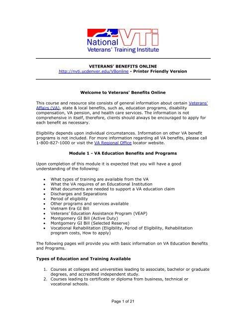 Page 1 of 14 VETERANS' BENEFITS ONLINE http://nvti ucdenver