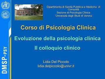 lezione I e II Definizione Psicologia clinica e - Università degli Studi ...