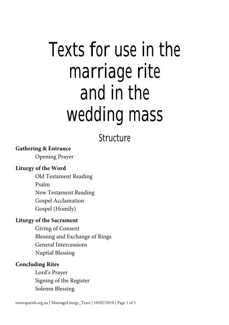 Texts for use in the marriage rite and in the wedding mass