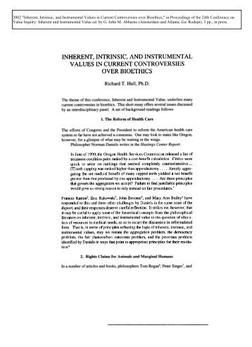 intrinsic or instrumental value in nature Intrinsic value of the natural environment: an ethical roadmap to protect the environment  an ethical roadmap to protect the environment  instrumental vs.