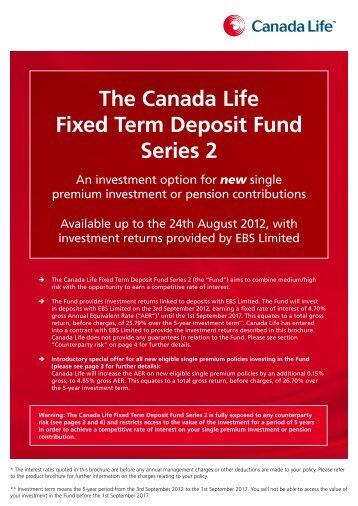 The Canada Life Fixed Term Deposit Fund Series 2 - Best Advice