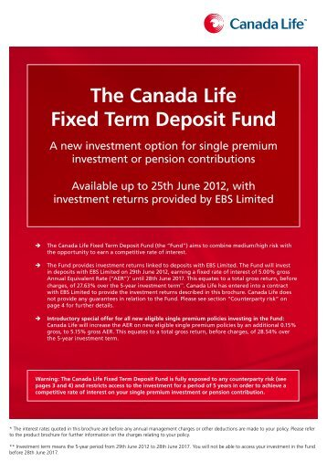 investing in the Canada Life Fixed Term Deposit Fund - Best Advice