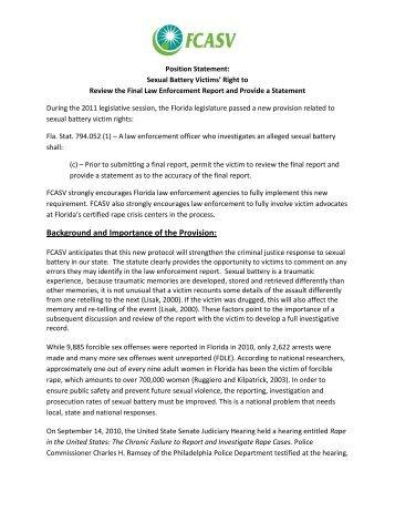 Position Statement - Florida Council Against Sexual Violence