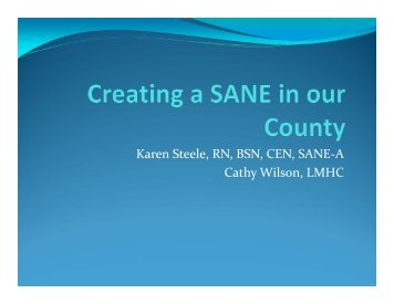 Creating a SANE in our County by Karen Steele and Catherine Wilson