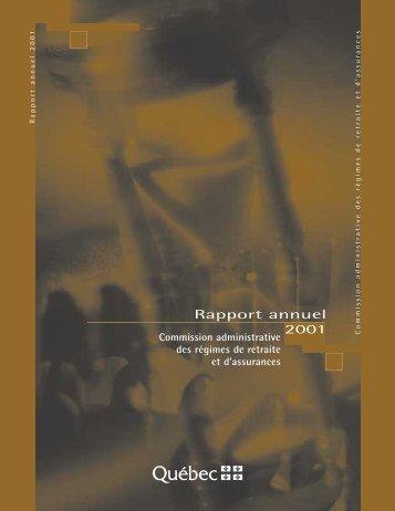 Rapport annuel 2001 - CARRA - Gouvernement du Québec