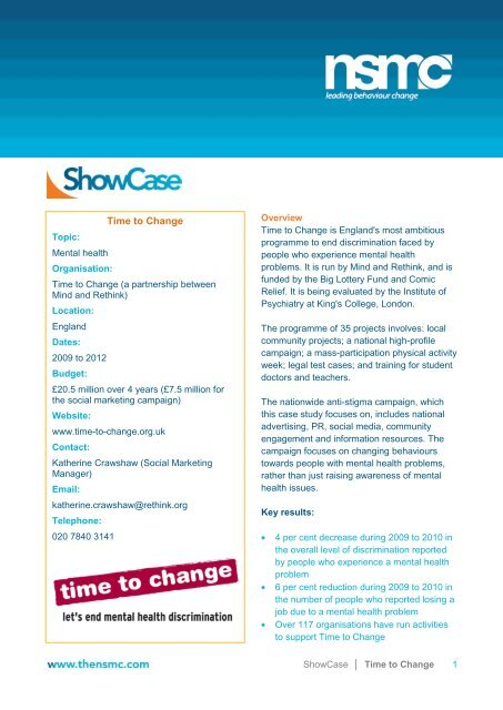 Time to Change FULL case study (PDF) - Consumer Focus
