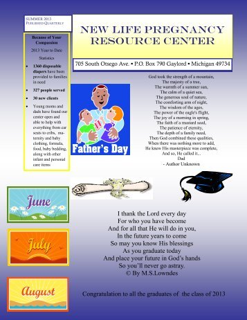 summer 2013 newsletter.pdf - New Life Pregnancy Resource Center
