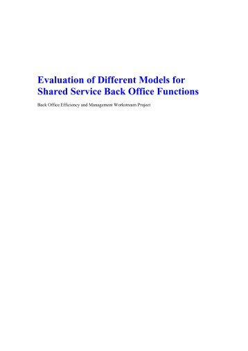 Evaluation of Different Models for Shared Service Back Office ...